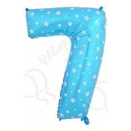 Фольгированная цифра 7, синяя.