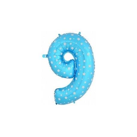Фольгированная цифра 9, синяя. 102 см.