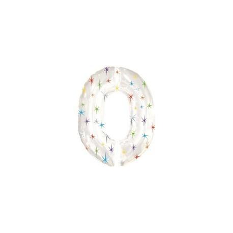 Фольгированная цифра 0, белая. 125 см.