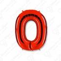 Фольгированная цифра 0, красная.