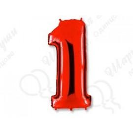 Фольгированная цифра 1, красная.