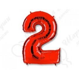 Фольгированная цифра 2, красная.