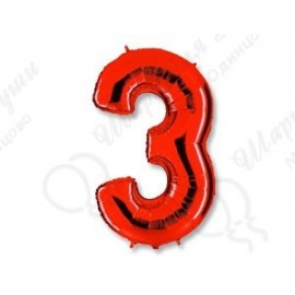 Фольгированная цифра 3, красная.