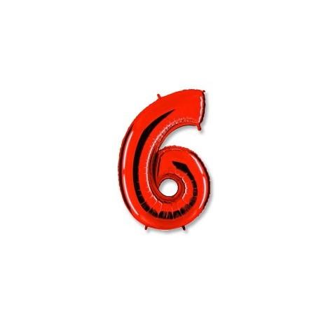 Фольгированная цифра 6, красная. 102 см.