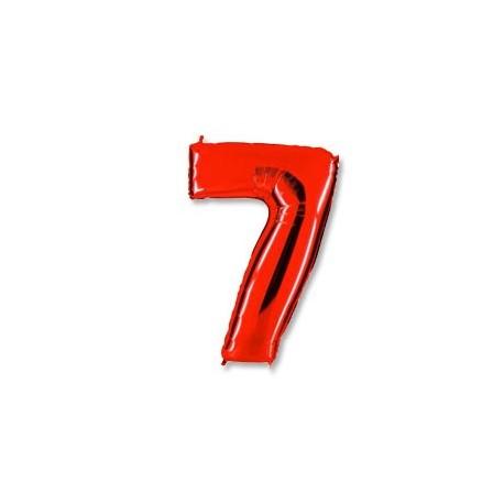 Фольгированная цифра 7, красная. 102 см.