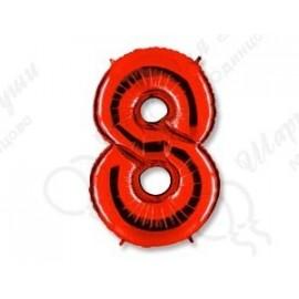 Фольгированная цифра 8, красная.