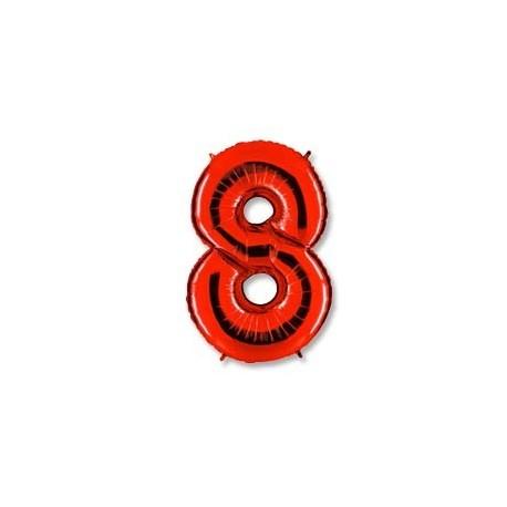 Фольгированная цифра 8, красная. 102 см.