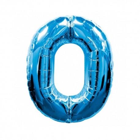 Фольгированная цифра 0, ярко-синяя. 102 см.