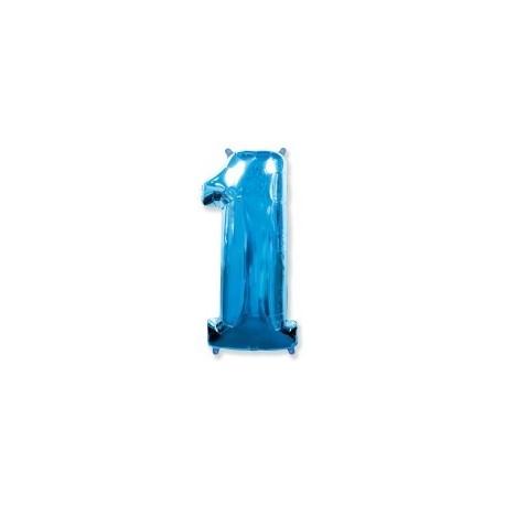 Фольгированная цифра 1, ярко-синяя. 102 см.