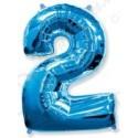 Фольгированная цифра 2, ярко-синяя.
