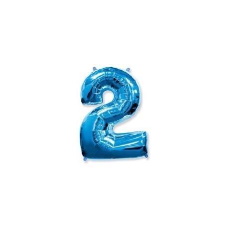 Фольгированная цифра 2, ярко-синяя. 102 см.