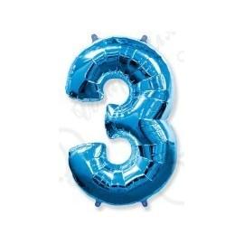 Фольгированная цифра 3, ярко-синяя.