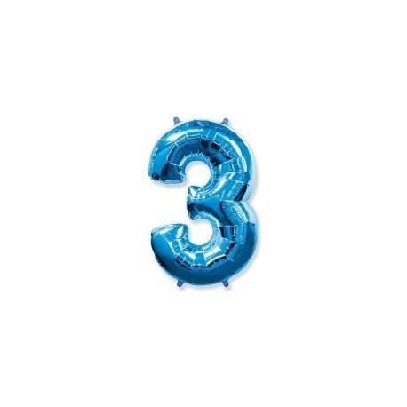 Фольгированная цифра 3, ярко-синяя. 102 см.
