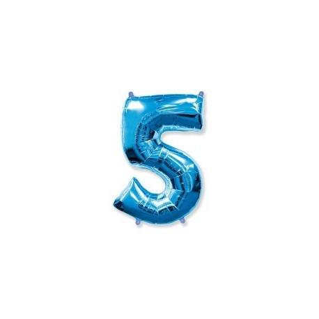 Фольгированная цифра 5, ярко-синяя. 102 см.