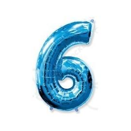 Фольгированная цифра 6, ярко-синяя.