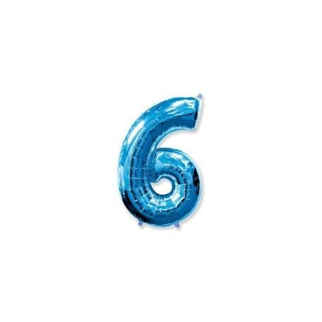 Фольгированная цифра 6, ярко-синяя. 102 см.