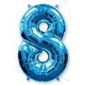 Фольгированная цифра 8, ярко-синяя.