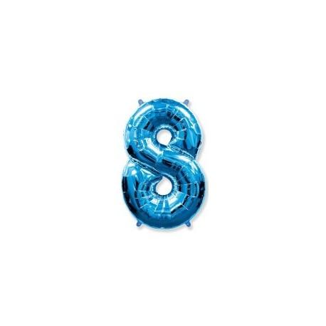 Фольгированная цифра 8, ярко-синяя. 102 см.
