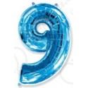 Фольгированная цифра 9, ярко-синяя.