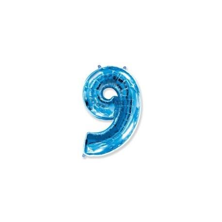 Фольгированная цифра 9, ярко-синяя. 102 см.