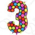 Фольгированная цифра 3, супер яркий.