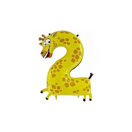Фольгированная цифра 2, жираф. 102 см.