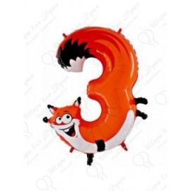 Фольгированная цифра 3, лисенок.