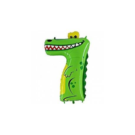 Фольгированная цифра 7, крокодил. 102 см.