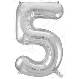 Фольгированная цифра 5, серебро.