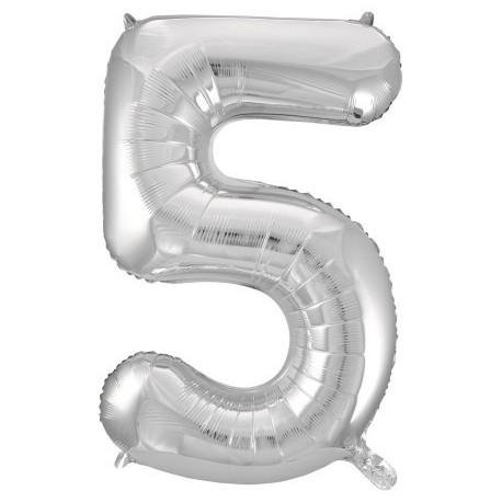 Фольгированная цифра 5, серебро. 102 см.