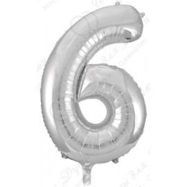 Фольгированная цифра 6, серебро.
