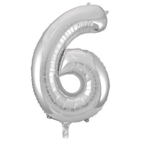 Фольгированная цифра 6, серебро. 102 см.