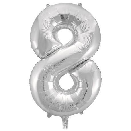 Фольгированная цифра 8, серебро. 102 см.