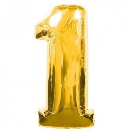 Фольгированная цифра 1, золото. 102 см.