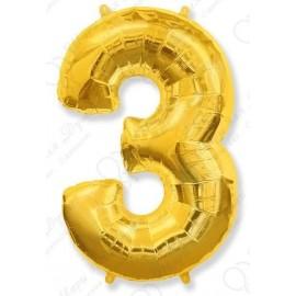 Фольгированная цифра 3, золото.