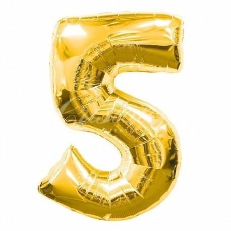 Фольгированная цифра 5, золото. 102 см.