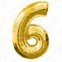 Фольгированная цифра 6, золото.