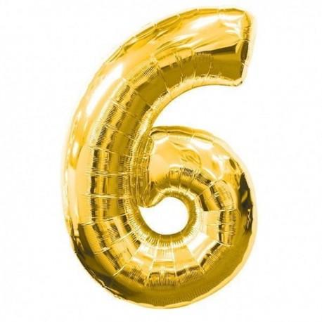 Фольгированная цифра 6, золото. 102 см.