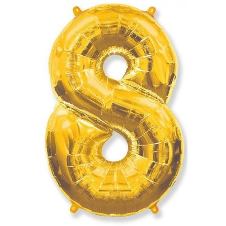 Фольгированная цифра 8, золото. 102 см.