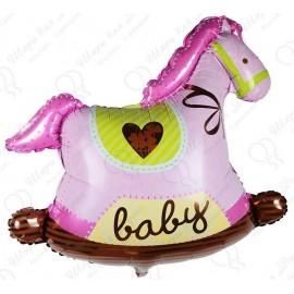 Фигурный шар - Лошадка качалка, розовый. 91 см.