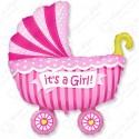 Фигурный шар - Коляска для девочки.