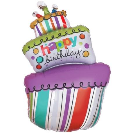 Фигурный шар - Торт С Днем Рождения. 107 см.