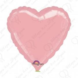 Фольгированное сердце - нежно-розовое, 46 см.