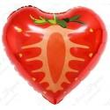 Фольгированное сердце - Клубника, красная.