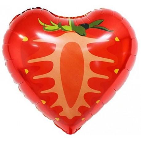 Фольгированное сердце - Клубника, красная. 46 см.