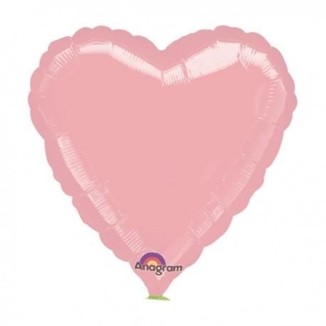 Фольгированное сердце - нежно-розовое. 81 см.