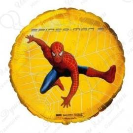 Фольгированный круг - Человек Паук 3, желтый. 46 см.