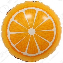 Фольгированный круг - Апельсин, оранжевый. 46 см.