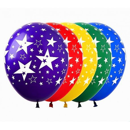 Воздушный шар звезды большие, ассорти, 38 см.