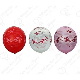 Воздушный шар 38 см,Камуфляж, ассорти, кристалл.